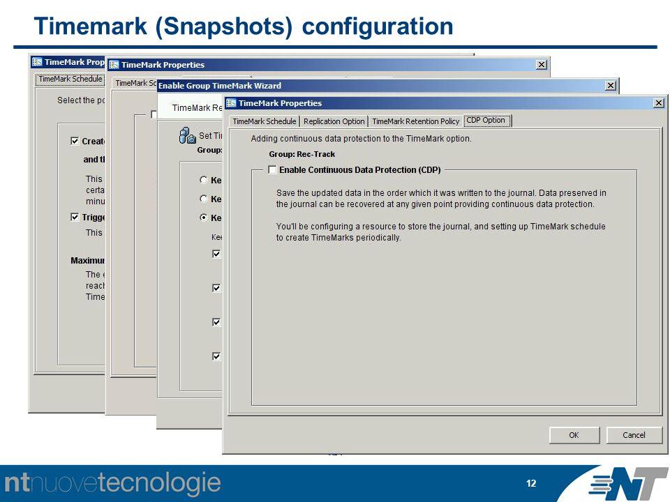 12 Timemark (Snapshots) configuration