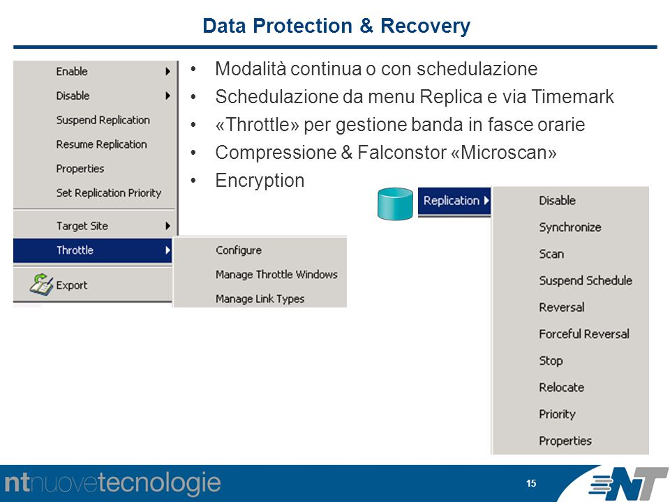 15 Data Protection & Recovery Modalità continua o con schedulazione Schedulazione da menu Replica e via Timemark «Throttle» per gestione banda in fasc