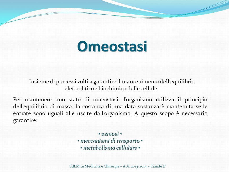 Omeostasi Insieme di processi volti a garantire il mantenimento dell'equilibrio elettrolitico e biochimico delle cellule. Per mantenere uno stato di o