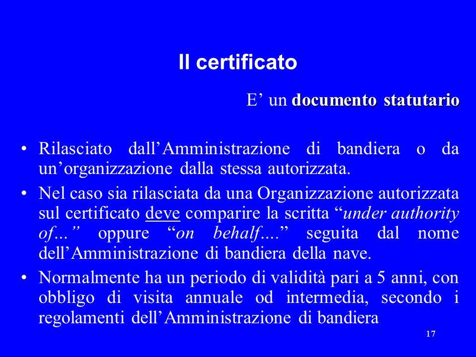 17 Il certificato documento statutario E' un documento statutario Rilasciato dall'Amministrazione di bandiera o da un'organizzazione dalla stessa auto
