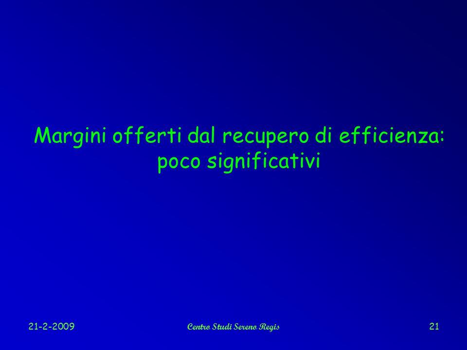 21-2-2009Centro Studi Sereno Regis21 Margini offerti dal recupero di efficienza: poco significativi