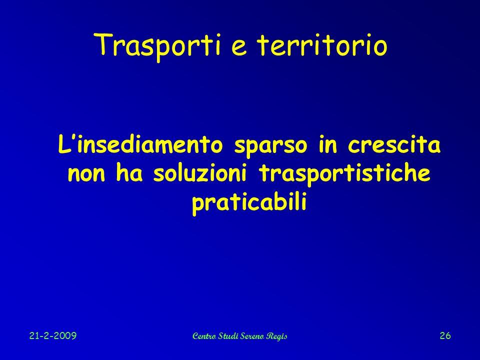 21-2-2009Centro Studi Sereno Regis26 Trasporti e territorio L'insediamento sparso in crescita non ha soluzioni trasportistiche praticabili