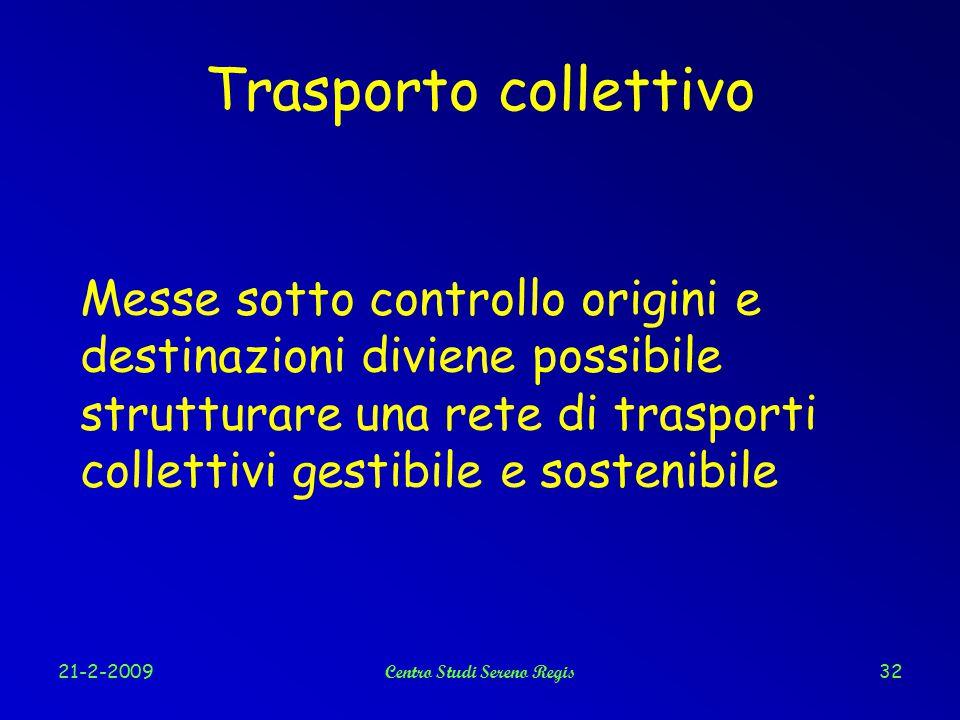 21-2-2009Centro Studi Sereno Regis32 Trasporto collettivo Messe sotto controllo origini e destinazioni diviene possibile strutturare una rete di trasporti collettivi gestibile e sostenibile