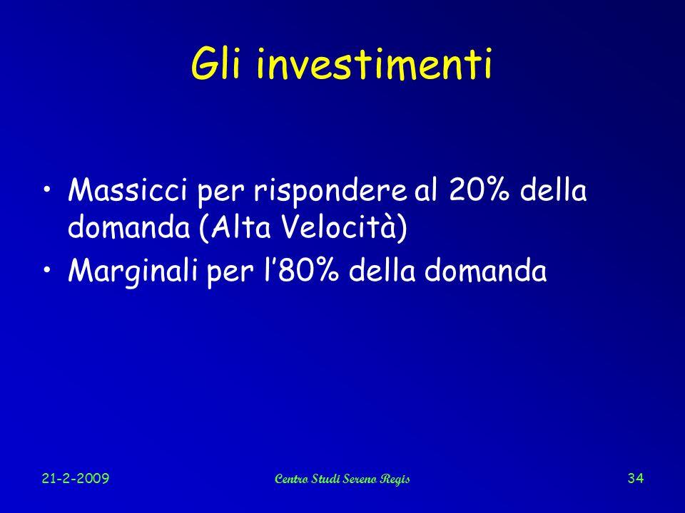 21-2-2009Centro Studi Sereno Regis34 Gli investimenti Massicci per rispondere al 20% della domanda (Alta Velocità) Marginali per l'80% della domanda