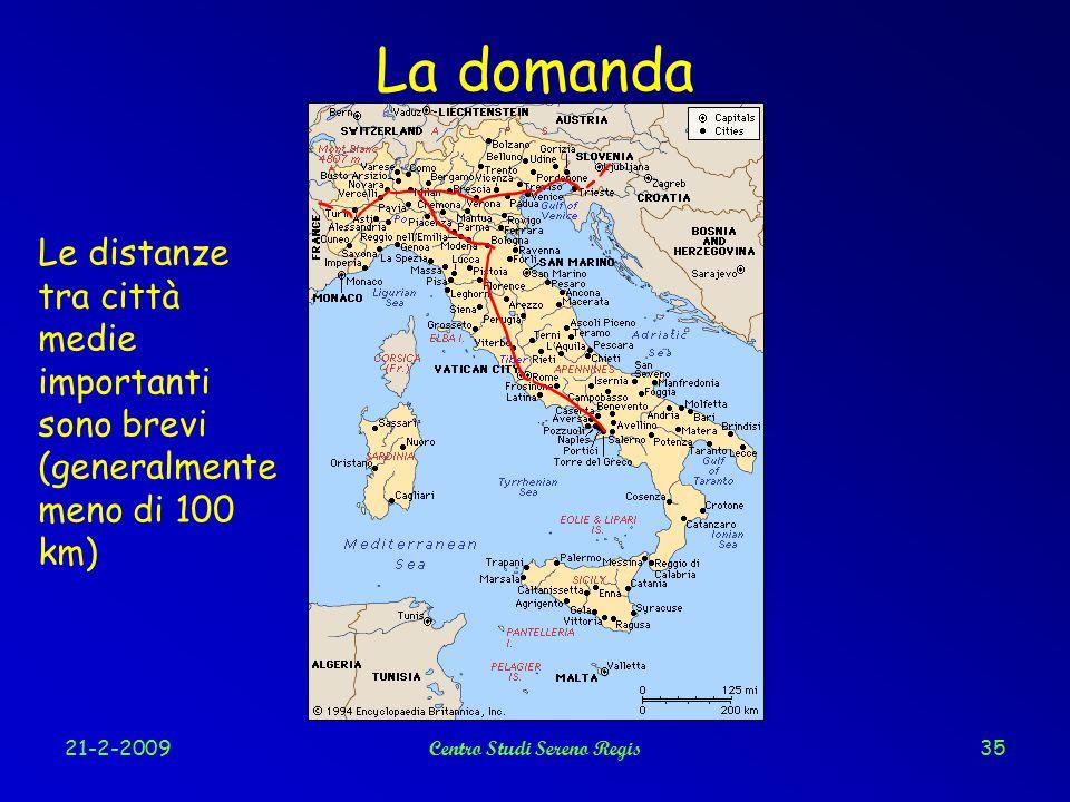 21-2-2009Centro Studi Sereno Regis35 La domanda Le distanze tra città medie importanti sono brevi (generalmente meno di 100 km)