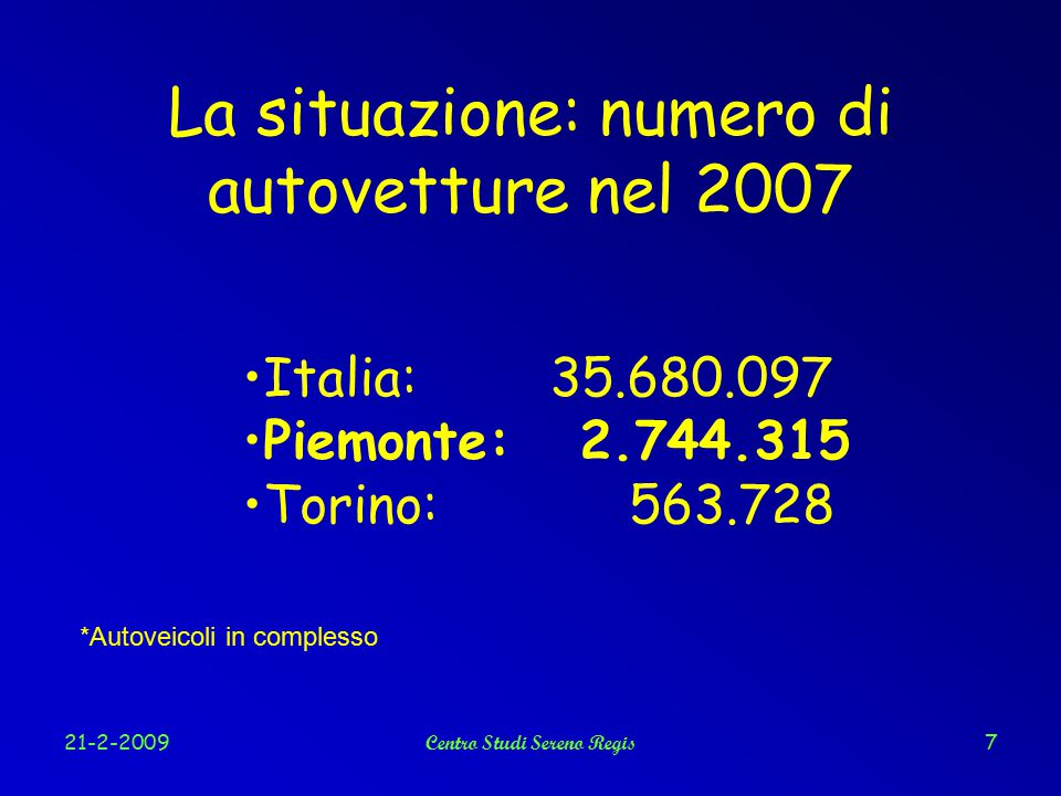 21-2-2009Centro Studi Sereno Regis7 La situazione: numero di autovetture nel 2007 Italia: 35.680.097 Piemonte: 2.744.315 Torino: 563.728 *Autoveicoli in complesso