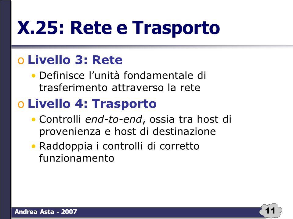 11 Andrea Asta - 2007 X.25: Rete e Trasporto oLivello 3: Rete Definisce l'unità fondamentale di trasferimento attraverso la rete oLivello 4: Trasporto