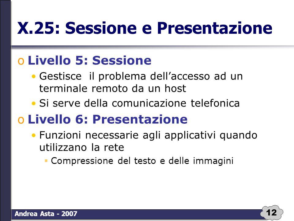 12 Andrea Asta - 2007 X.25: Sessione e Presentazione oLivello 5: Sessione Gestisce il problema dell'accesso ad un terminale remoto da un host Si serve