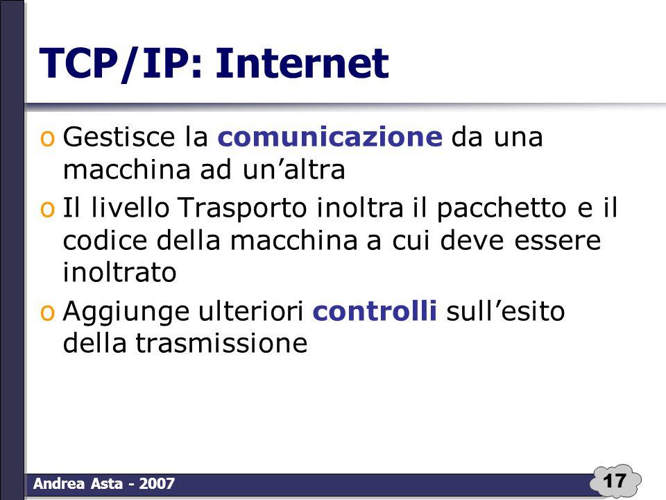 17 Andrea Asta - 2007 TCP/IP: Internet oGestisce la comunicazione da una macchina ad un'altra oIl livello Trasporto inoltra il pacchetto e il codice d