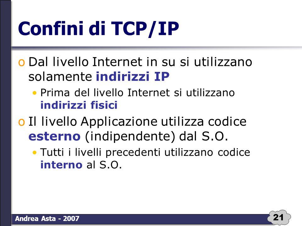 21 Andrea Asta - 2007 Confini di TCP/IP oDal livello Internet in su si utilizzano solamente indirizzi IP Prima del livello Internet si utilizzano indi