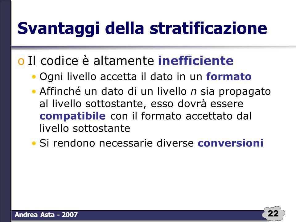 22 Andrea Asta - 2007 Svantaggi della stratificazione oIl codice è altamente inefficiente Ogni livello accetta il dato in un formato Affinché un dato