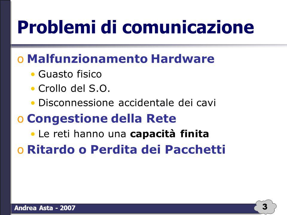 4 Andrea Asta - 2007 Problemi di comunicazione oAlterazione dei dati Interferenza elettrica Interferenza magnetica Danni all'hardware oDuplicazione dei dati oErrori nella sequenza dei dati