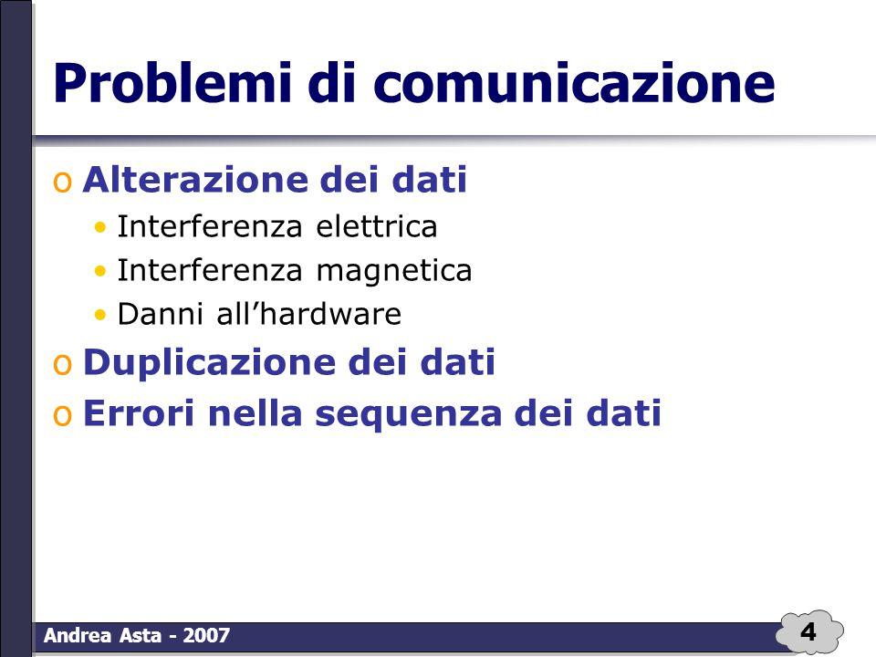 4 Andrea Asta - 2007 Problemi di comunicazione oAlterazione dei dati Interferenza elettrica Interferenza magnetica Danni all'hardware oDuplicazione de