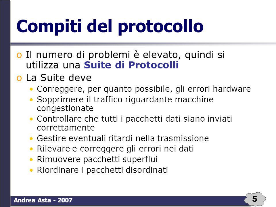 5 Andrea Asta - 2007 Compiti del protocollo oIl numero di problemi è elevato, quindi si utilizza una Suite di Protocolli oLa Suite deve Correggere, pe
