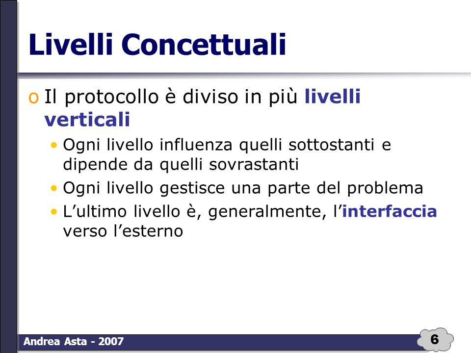 17 Andrea Asta - 2007 TCP/IP: Internet oGestisce la comunicazione da una macchina ad un'altra oIl livello Trasporto inoltra il pacchetto e il codice della macchina a cui deve essere inoltrato oAggiunge ulteriori controlli sull'esito della trasmissione
