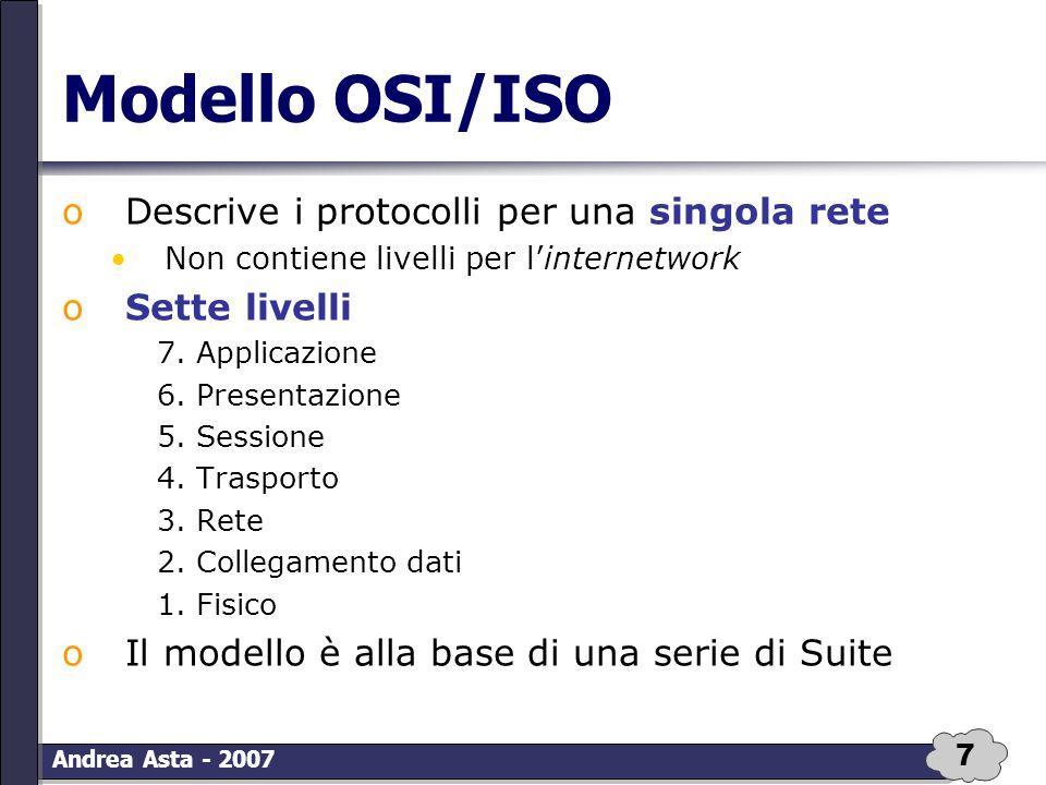7 Andrea Asta - 2007 Modello OSI/ISO oDescrive i protocolli per una singola rete Non contiene livelli per l'internetwork oSette livelli 7. Applicazion