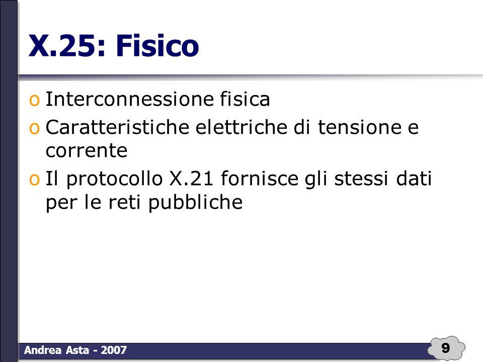9 Andrea Asta - 2007 X.25: Fisico oInterconnessione fisica oCaratteristiche elettriche di tensione e corrente oIl protocollo X.21 fornisce gli stessi