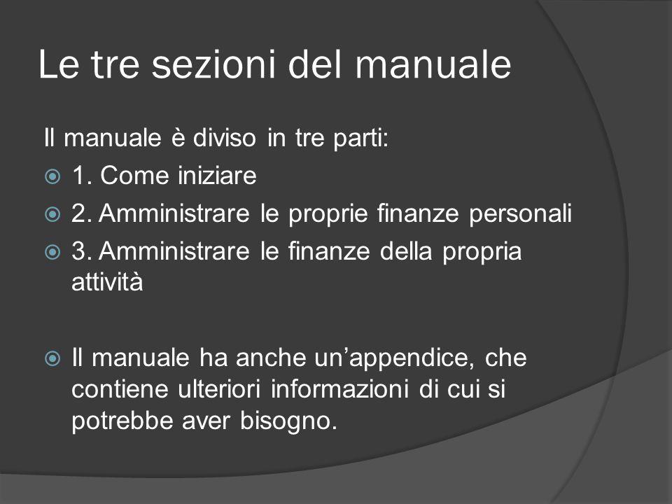 Le tre sezioni del manuale Il manuale è diviso in tre parti:  1.
