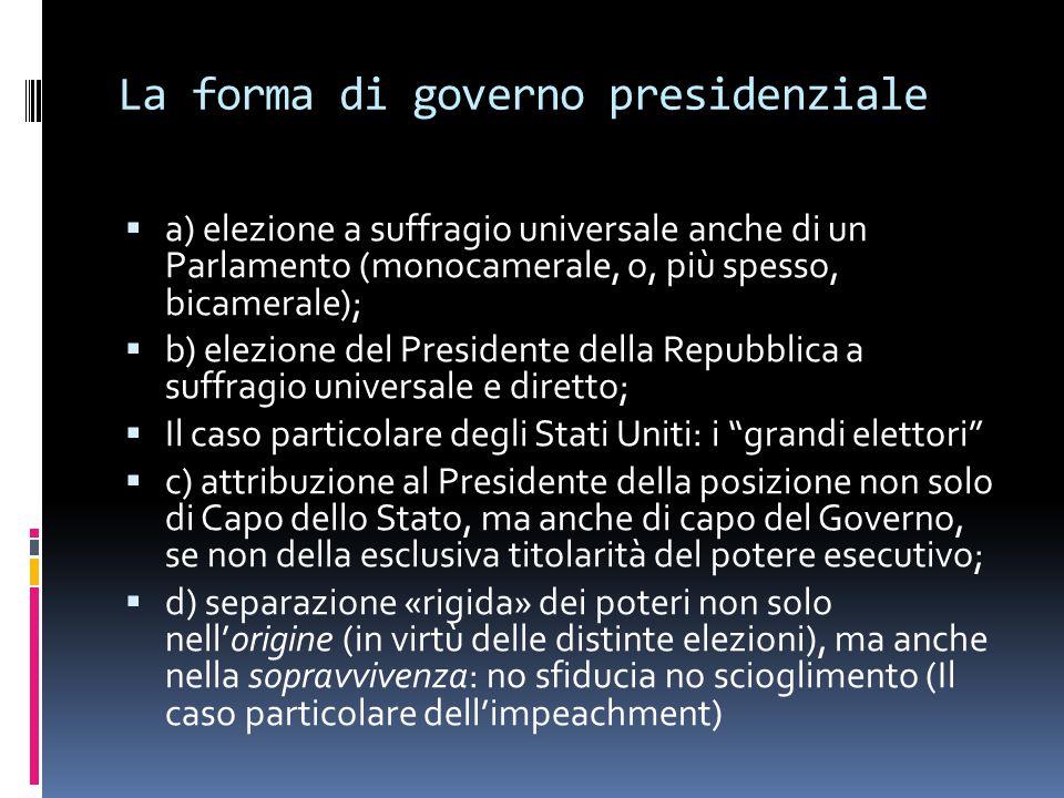 La forma di governo presidenziale  a) elezione a suffragio universale anche di un Parlamento (monocamerale, o, più spesso, bicamerale);  b) elezione