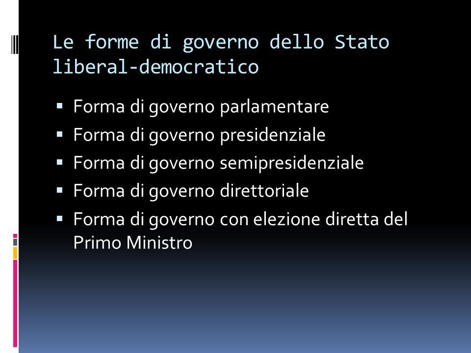 Le forme di governo dello Stato liberal-democratico  Forma di governo parlamentare  Forma di governo presidenziale  Forma di governo semipresidenzi