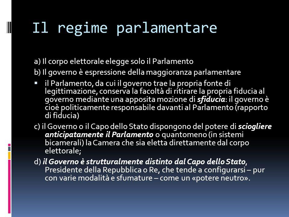 Il regime parlamentare a) Il corpo elettorale elegge solo il Parlamento b) Il governo è espressione della maggioranza parlamentare  il Parlamento, da