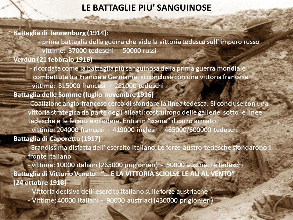 LE BATTAGLIE PIU' SANGUINOSE Battaglia di Tennenburg (1914): - prima battaglia della guerra che vide la vittoria tedesca sull' impero russo - vittime: