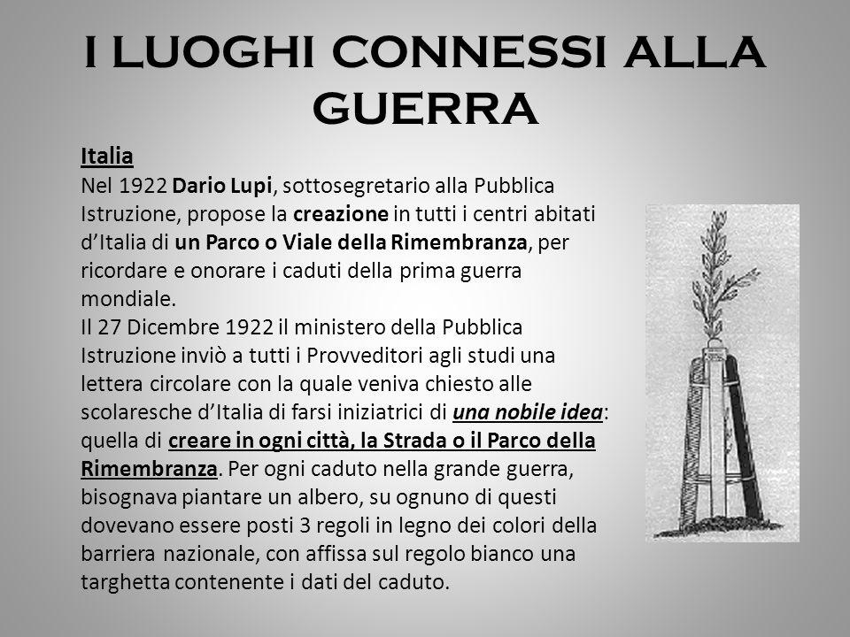 I LUOGHI CONNESSI ALLA GUERRA Italia Nel 1922 Dario Lupi, sottosegretario alla Pubblica Istruzione, propose la creazione in tutti i centri abitati d'I