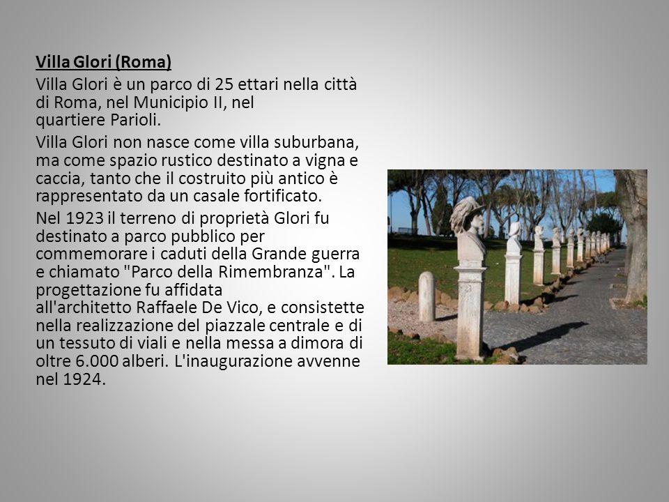 Villa Glori (Roma) Villa Glori è un parco di 25 ettari nella città di Roma, nel Municipio II, nel quartiere Parioli. Villa Glori non nasce come villa