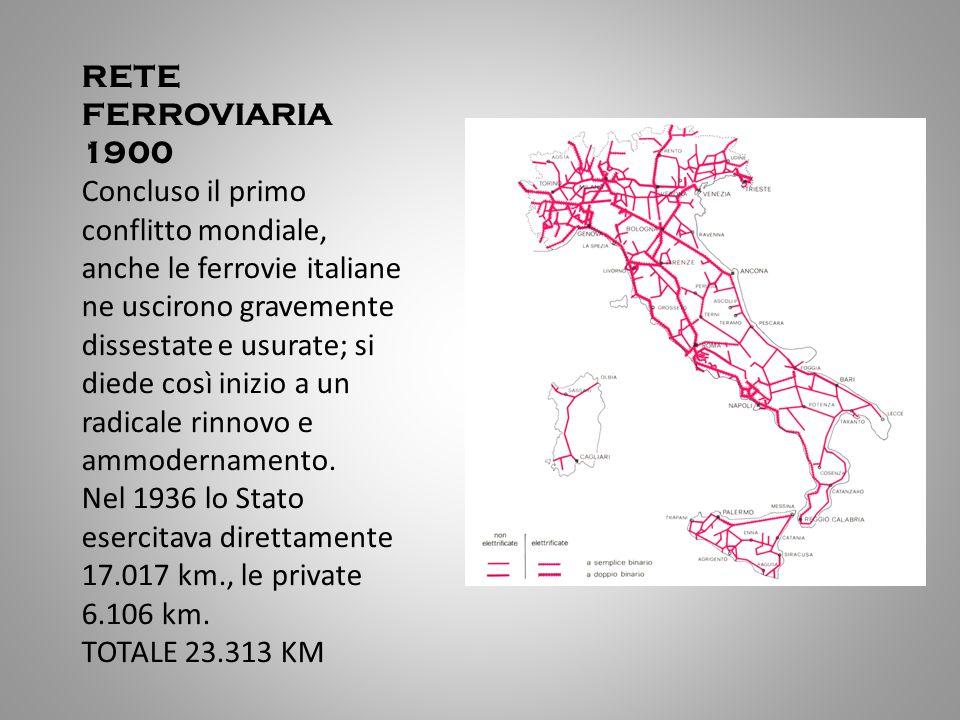 RETE FERROVIARIA 1900 Concluso il primo conflitto mondiale, anche le ferrovie italiane ne uscirono gravemente dissestate e usurate; si diede così iniz