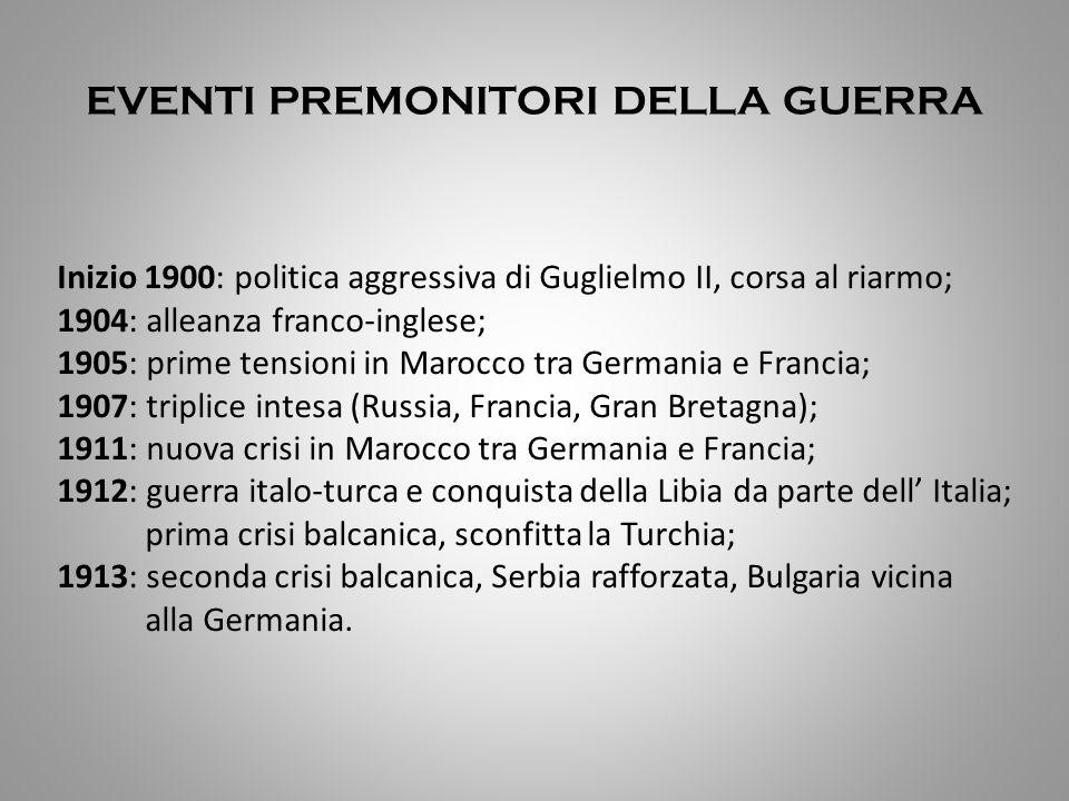 EVENTI PREMONITORI DELLA GUERRA Inizio 1900: politica aggressiva di Guglielmo II, corsa al riarmo; 1904: alleanza franco-inglese; 1905: prime tensioni