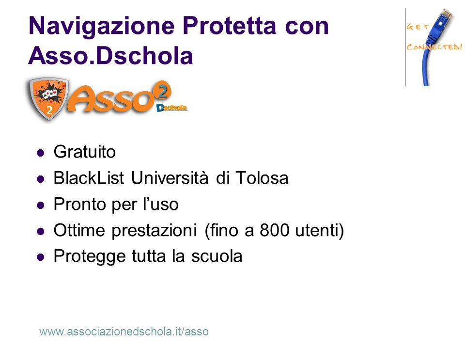Navigazione Protetta con Asso.Dschola Gratuito BlackList Università di Tolosa Pronto per l'uso Ottime prestazioni (fino a 800 utenti) Protegge tutta l