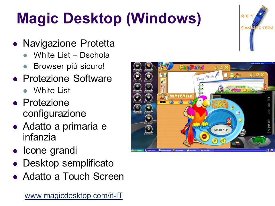 Magic Desktop (Windows) Navigazione Protetta White List – Dschola Browser più sicuro! Protezione Software White List Protezione configurazione Adatto