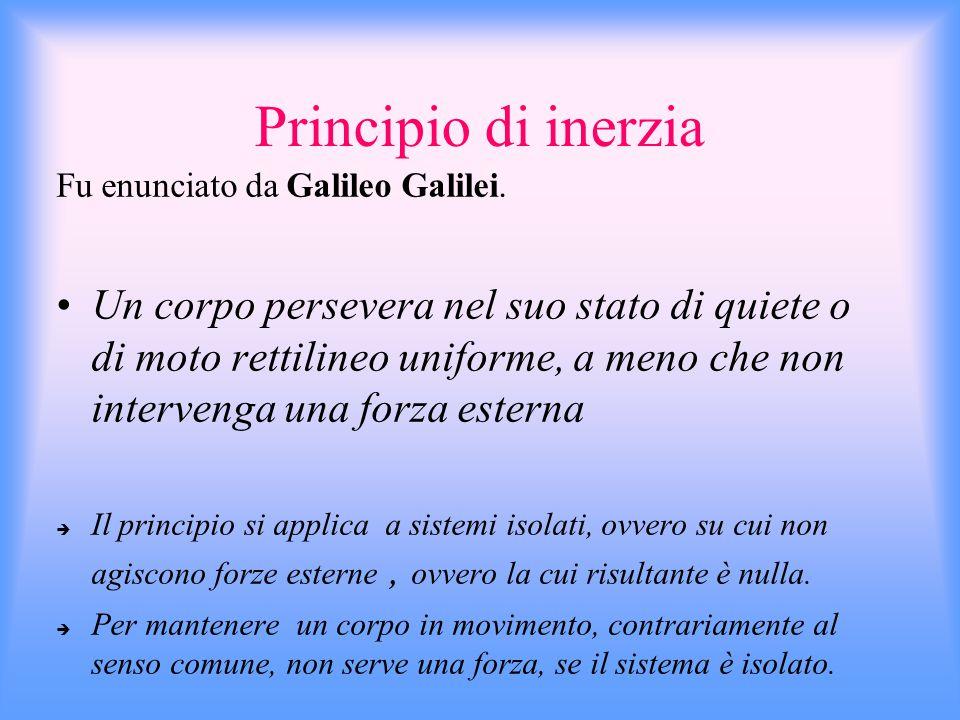 La dinamica si basa su tre principi: Primo principio o principio di inerzia Secondo principio o legge fondamentale della dinamica Terzo principio o pr