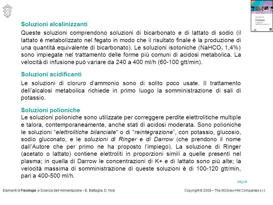 Elementi di Fisiologia e Scienza dell'Alimentazione – E. Battaglia, D. NoèCopyright © 2008 – The McGraw-Hill Companies s.r.l. Soluzioni alcalinizzanti