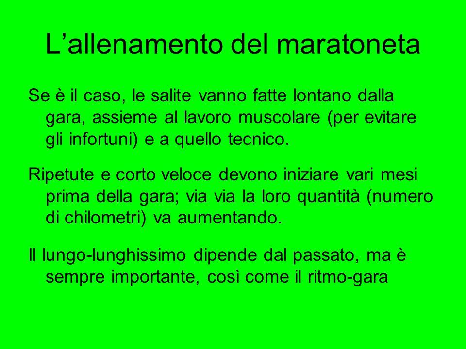 L'allenamento del maratoneta Se è il caso, le salite vanno fatte lontano dalla gara, assieme al lavoro muscolare (per evitare gli infortuni) e a quello tecnico.