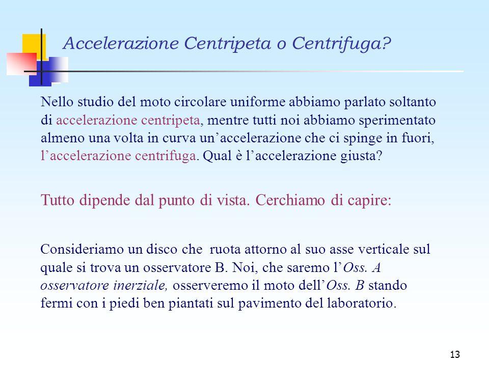 13 Nello studio del moto circolare uniforme abbiamo parlato soltanto di accelerazione centripeta, mentre tutti noi abbiamo sperimentato almeno una vol