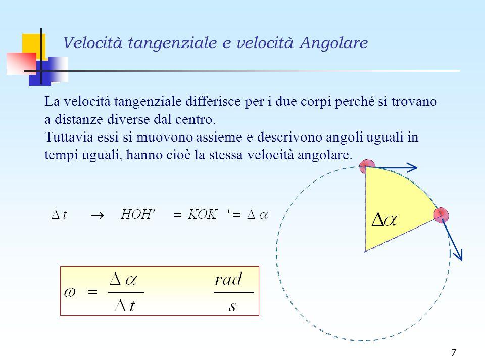 7 Velocità tangenziale e velocità Angolare La velocità tangenziale differisce per i due corpi perché si trovano a distanze diverse dal centro. Tuttavi