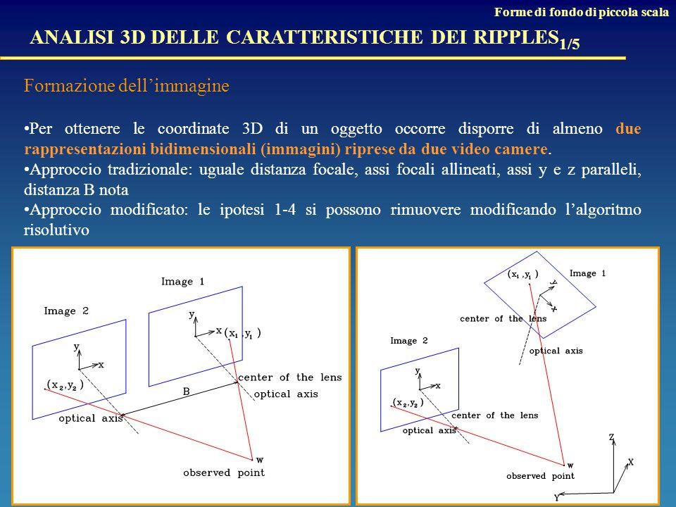 ANALISI 3D DELLE CARATTERISTICHE DEI RIPPLES 1/5 Formazione dell'immagine Per ottenere le coordinate 3D di un oggetto occorre disporre di almeno due rappresentazioni bidimensionali (immagini) riprese da due video camere.