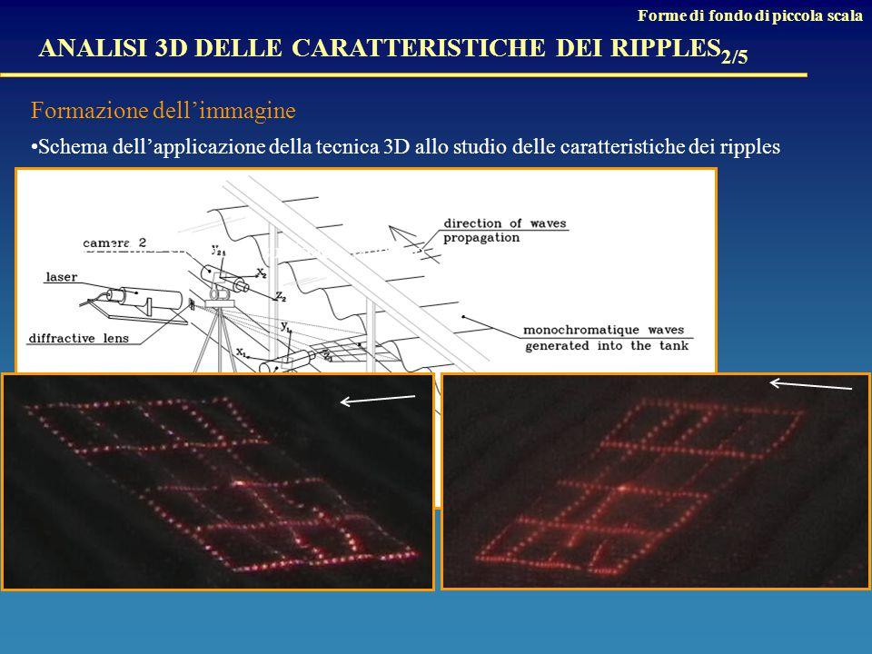 ANALISI 3D DELLE CARATTERISTICHE DEI RIPPLES 2/5 Formazione dell'immagine Schema dell'applicazione della tecnica 3D allo studio delle caratteristiche dei ripples Griglia di luce strutturata sul fondo sabbioso Forme di fondo di piccola scala