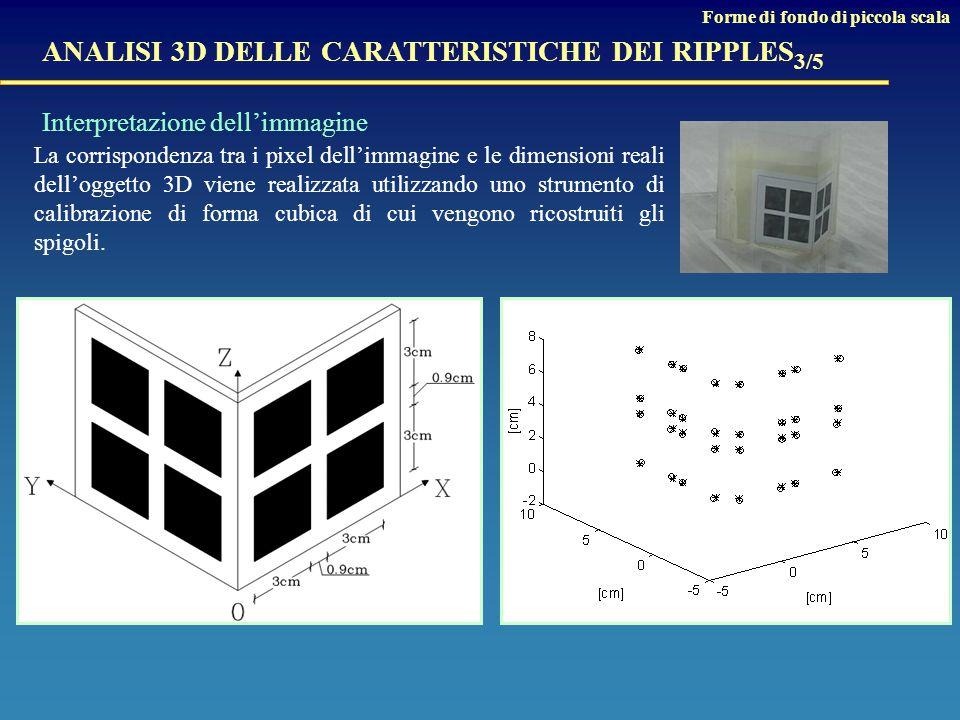 La corrispondenza tra i pixel dell'immagine e le dimensioni reali dell'oggetto 3D viene realizzata utilizzando uno strumento di calibrazione di forma cubica di cui vengono ricostruiti gli spigoli.