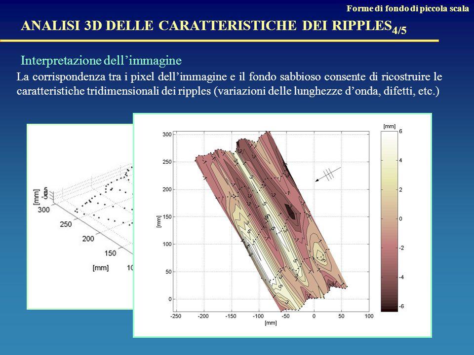 La corrispondenza tra i pixel dell'immagine e il fondo sabbioso consente di ricostruire le caratteristiche tridimensionali dei ripples (variazioni delle lunghezze d'onda, difetti, etc.) ANALISI 3D DELLE CARATTERISTICHE DEI RIPPLES 4/5 Interpretazione dell'immagine Forme di fondo di piccola scala