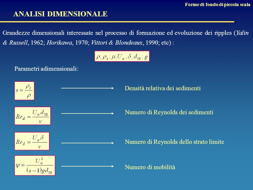Densità relativa dei sedimenti Numero di Reynolds dei sedimenti Numero di Reynolds dello strato limite Numero di mobilità Grandezze dimensionali interessate nel processo di formazione ed evoluzione dei ripples (Yalin & Russell, 1962; Horikawa, 1970; Vittori & Blondeaux, 1990; etc) : Parametri adimensionali: ANALISI DIMENSIONALE Forme di fondo di piccola scala