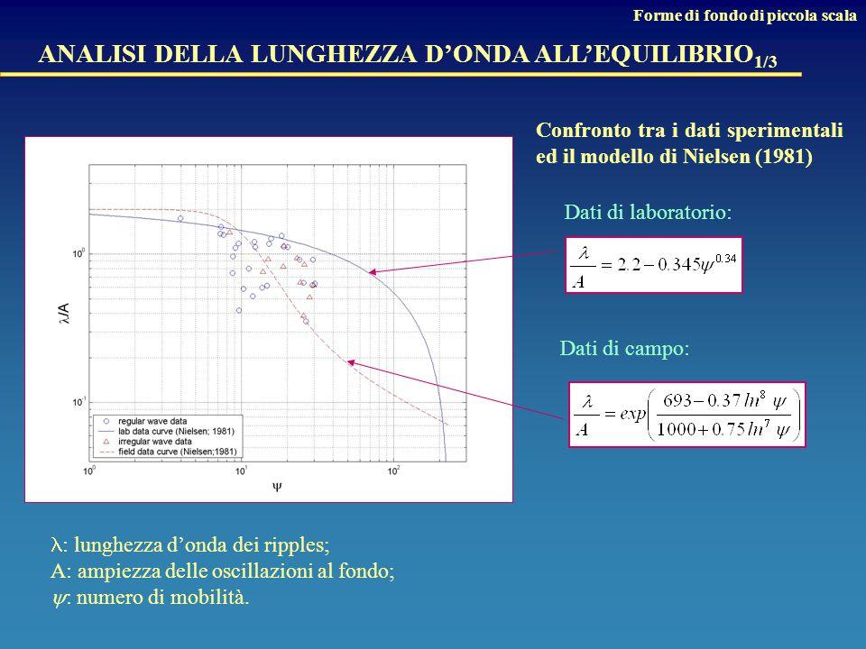 ANALISI DELLA LUNGHEZZA D'ONDA ALL'EQUILIBRIO 1/3 Dati di laboratorio: Dati di campo: Confronto tra i dati sperimentali ed il modello di Nielsen (1981) : lunghezza d'onda dei ripples; A: ampiezza delle oscillazioni al fondo;  : numero di mobilità.