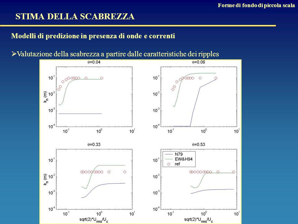STIMA DELLA SCABREZZA Modelli di predizione in presenza di onde e correnti  Valutazione della scabrezza a partire dalle caratteristiche dei ripples Forme di fondo di piccola scala