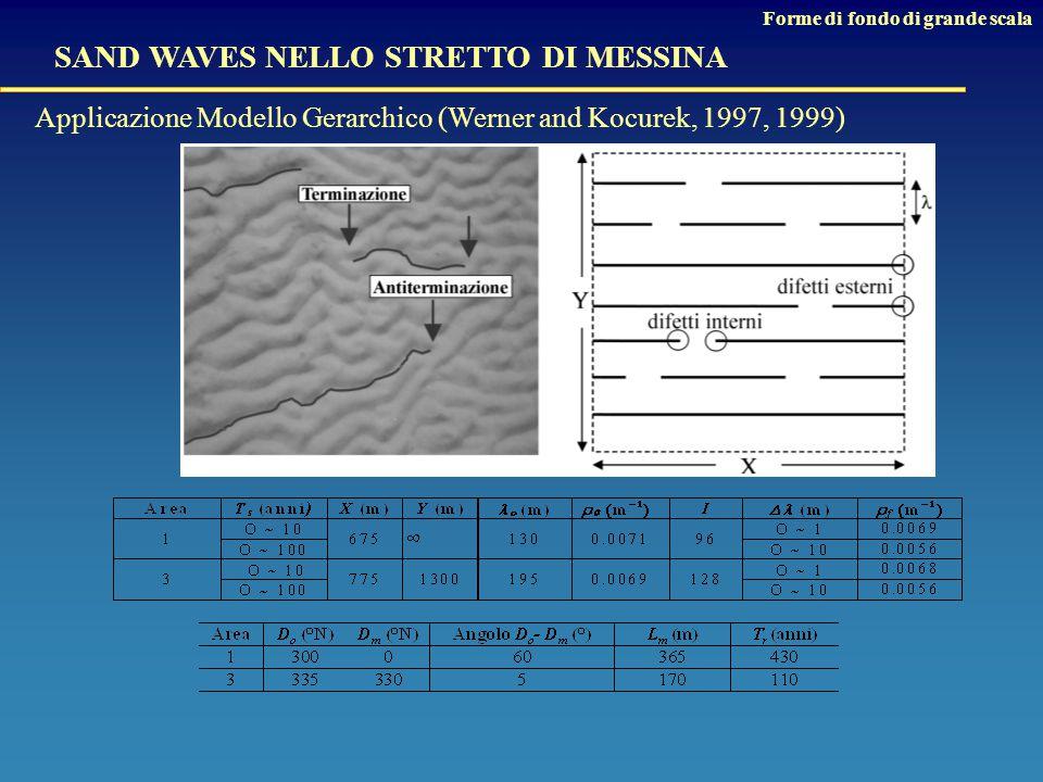 SAND WAVES NELLO STRETTO DI MESSINA Forme di fondo di grande scala Applicazione Modello Gerarchico (Werner and Kocurek, 1997, 1999)