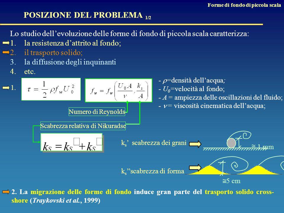 Lo studio dell'evoluzione delle forme di fondo di piccola scala caratterizza: 1.la resistenza d'attrito al fondo; 2.il trasporto solido; 3.la diffusione degli inquinanti 4.etc.
