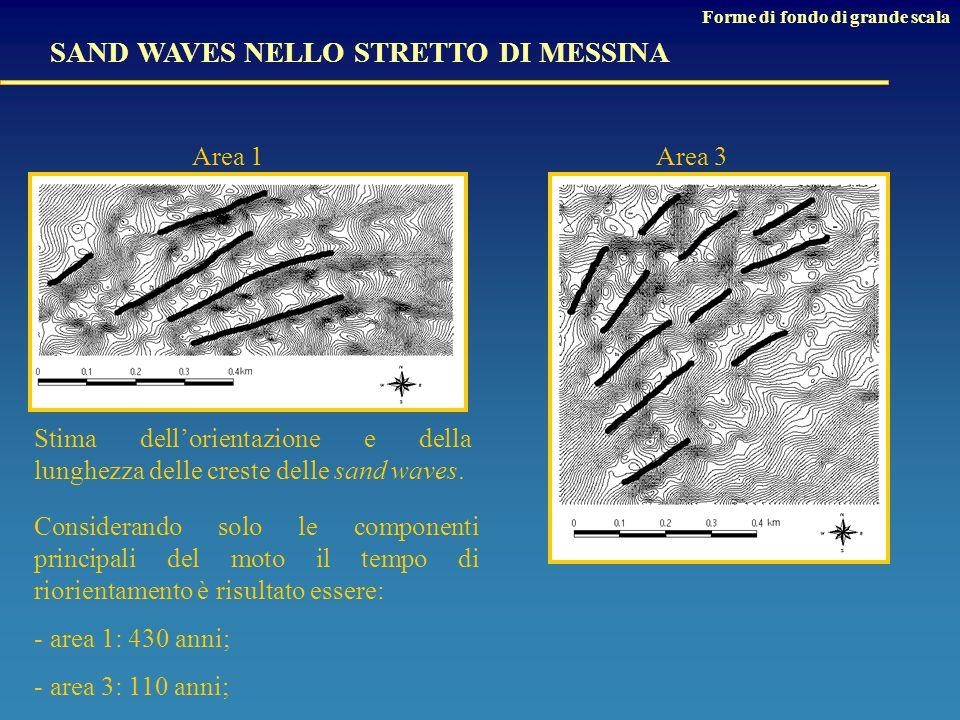 SAND WAVES NELLO STRETTO DI MESSINA Forme di fondo di grande scala Considerando solo le componenti principali del moto il tempo di riorientamento è risultato essere: - area 1: 430 anni; - area 3: 110 anni; Stima dell'orientazione e della lunghezza delle creste delle sand waves.