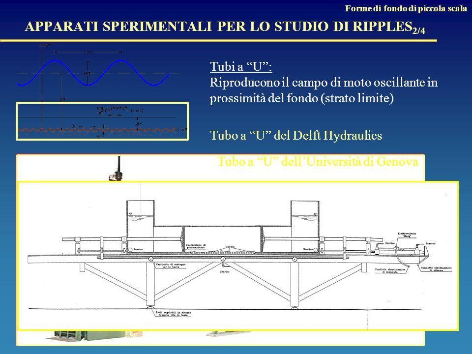 APPARATI SPERIMENTALI PER LO STUDIO DI RIPPLES 2/4 Tubi a U : Riproducono il campo di moto oscillante in prossimità del fondo (strato limite) Tubo a U del Delft Hydraulics Forme di fondo di piccola scala Tubo a U dell'Università di Genova