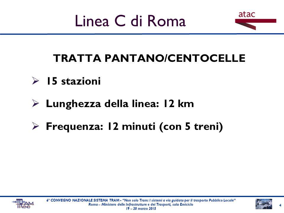 """TRATTA PANTANO/CENTOCELLE  15 stazioni  Lunghezza della linea: 12 km  Frequenza: 12 minuti (con 5 treni) 4 6° CONVEGNO NAZIONALE SISTEMA TRAM - """"No"""