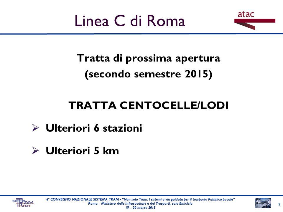 Tratta di prossima apertura (secondo semestre 2015) TRATTA CENTOCELLE/LODI  Ulteriori 6 stazioni  Ulteriori 5 km 5 6° CONVEGNO NAZIONALE SISTEMA TRA